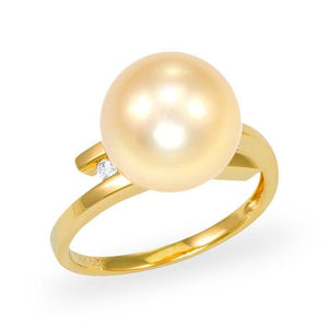 South Sea Golden Pearl Ring with Diamonds in 14K Yellow Gold (11-12mm)