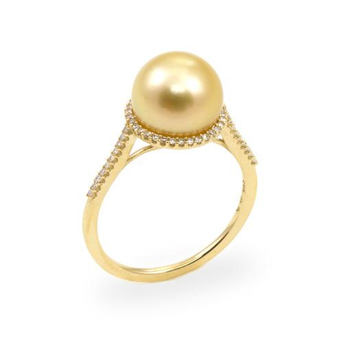 South Sea Golden Pearl Ring with Diamonds in 14K Yellow Gold