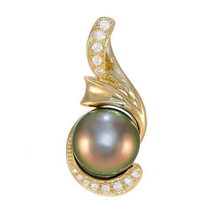 Tahitian Black Pearl Pendant with Diamonds in 14K Yellow Gold (15-16mm)