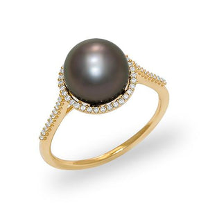 Tahitian Black Pearl Ring with Diamonds in 14K Yellow Gold (9-10mm)