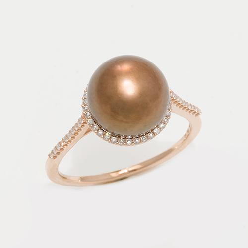 Halo Chocolate Tahitian Black Pearl Ring with Diamonds in 14K Rose Gold (9-10mm)