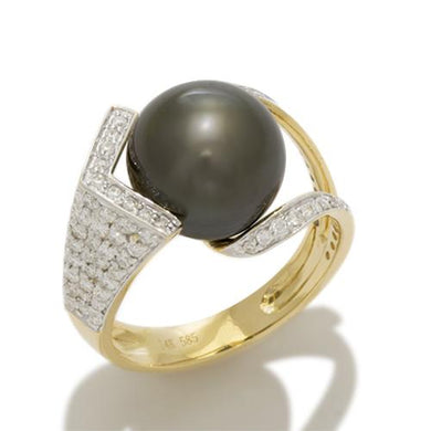 Tahitian Black Pearl Ring with Diamonds in 14K Yellow and White Gold (11-12mm)