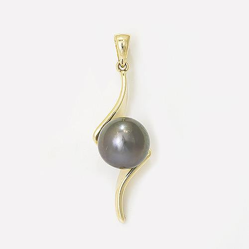 Curve Bypass Tahitian Black Pearl Pendant in 14K Yellow Gold (10-11mm) 006-14255