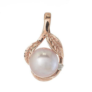 Lavender Freshwater Pearl Maile Pendant with Diamonds in 14K Rose Gold (10-11mm)