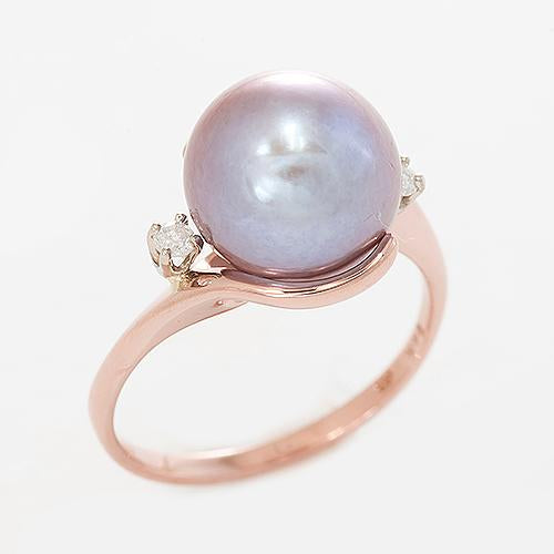 Freshwater Pearl Ring with Diamonds in 14K Rose Gold (10-11mm)