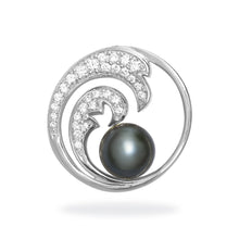 画像をギャラリービューアに読み込む, Nalu Double Wave Tahitian Black Pearl Pendant with Diamonds in 14K White Gold - 24mm