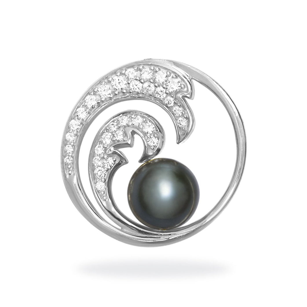 Nalu Double Wave Tahitian Black Pearl Pendant with Diamonds in 14K White Gold - 24mm