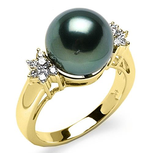 Tahitian Black Pearl Ring with Diamonds in 14K Yellow Gold (11-12mm)