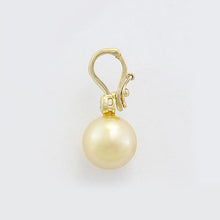 画像をギャラリービューアに読み込む, South Sea Golden Pearl Pendant with Diamond in 14K Yellow Gold (10-11mm) Side 006-14389