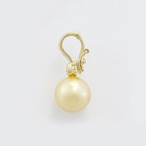 South Sea Golden Pearl Pendant with Diamond in 14K Yellow Gold (10-11mm) Side 006-14389