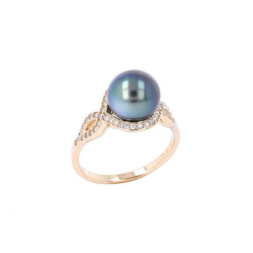 Tahitian Black Pearl Ring with Diamond in 14K Yellow Gold (9-10mm) 006-14396