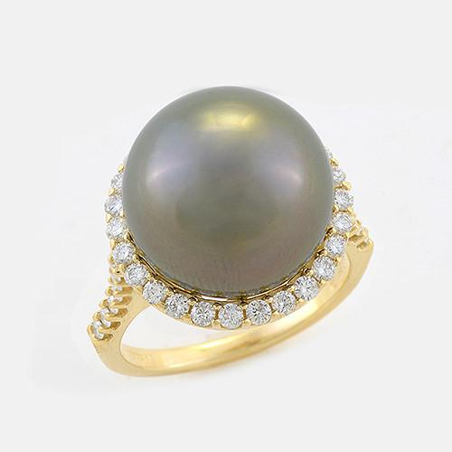 Halo Tahitian Black Pearl Ring with Diamonds in 14K Yellow Gold (14-15mm) 006-14404