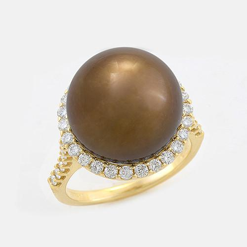 Halo Chocolate Tahitian Black Pearl Ring with Diamonds in 14K Yellow Gold (14-15mm) 006-14408