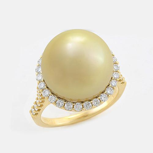 Halo South Sea Golden Pearl Ring with Diamonds in 14K Yellow Gold (14-15mm) 006-14409