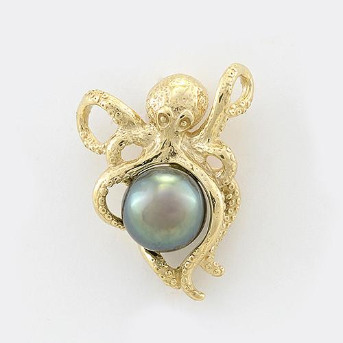 Octopus Tahitian Black Pearl Pendant in 14K Yellow Gold (8-10mm) 006-14412