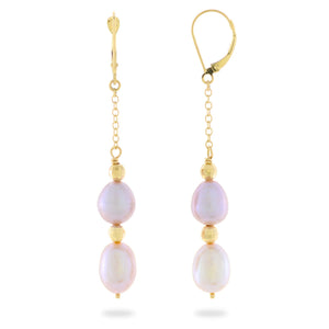 Cascading Freshwater Pearl Earrings in 14K Yellow Gold (8-8.5mm) 006-14221