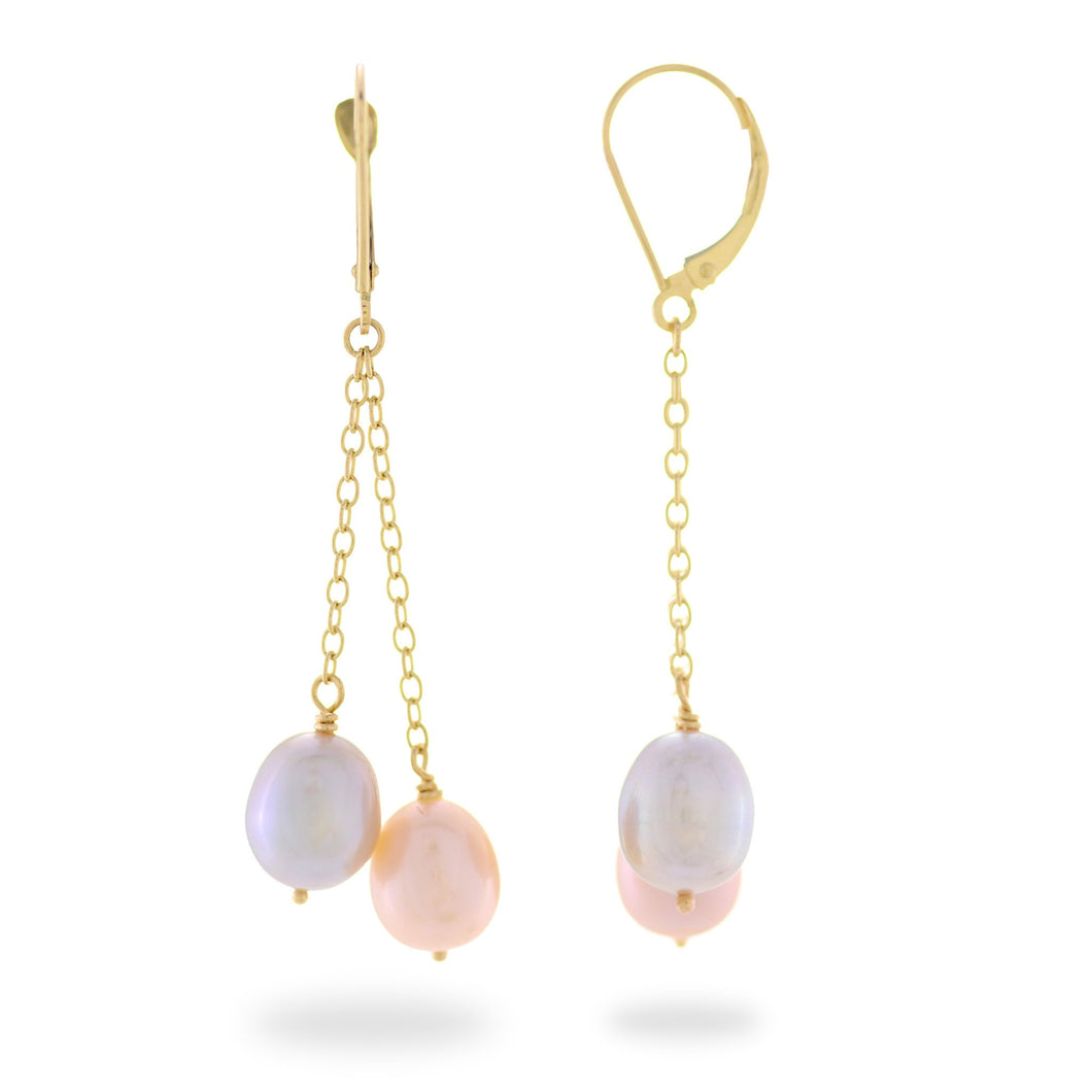 Cascading Freshwater Pearl Earrings in 14K Yellow Gold (8-8.5mm) 006-14422