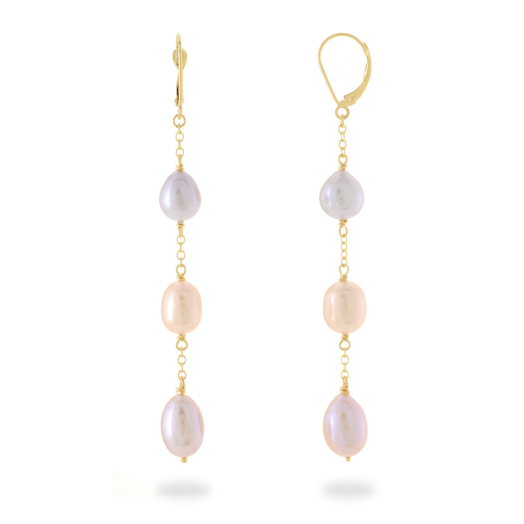 Cascading Freshwater Pearl Earrings in 14K Yellow Gold (8-8.5mm) 006-14425