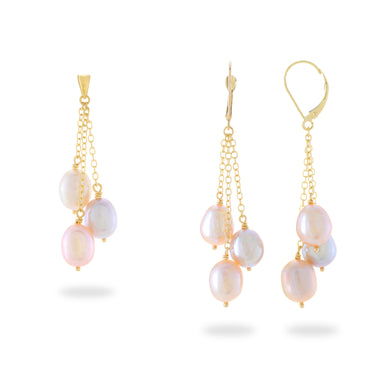 Cascading Freshwater Pearl Pendant & Earrings in 14K Yellow Gold (8-8.5mm) PAPM-006-14426P-006-14430