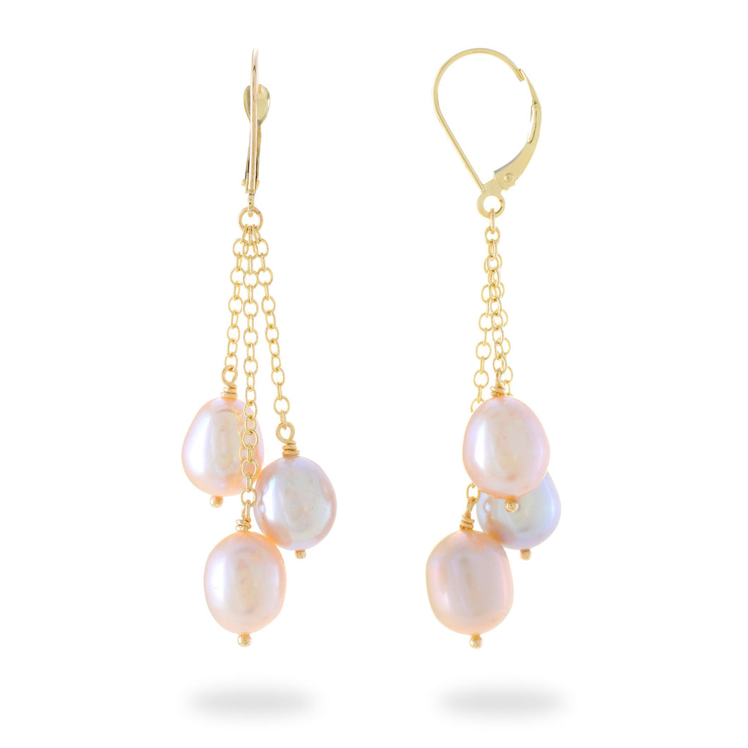 Cascading Freshwater Pearl Earrings in 14K Yellow Gold (8-8.5mm) 006-14426