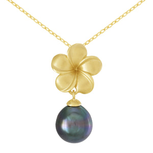 Plumeria Tahitian Black Pearl Necklace in 14K Yellow Gold (8-10mm) 006-14433