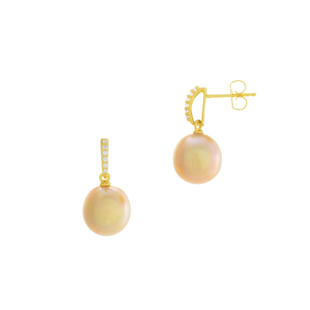 South Sea Golden Pearl Earrings with Diamonds in 14K Yellow Gold (10-11mm) 006-14436
