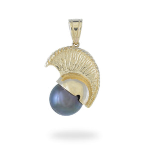 Ikaika Helmet Tahitian Black Pearl Pendant in 14K Yellow Gold (11-12mm) 006-14458