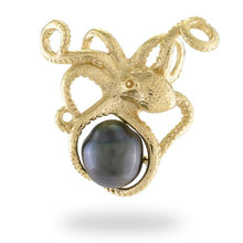 画像をギャラリービューアに読み込む, He'e Tahitian Black Pearl Pendant in 14K Yellow Gold