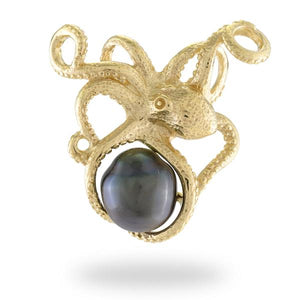 He'e Tahitian Black Pearl Pendant in 14K Yellow Gold