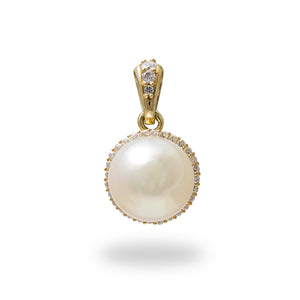 Akoya Pearl Pendant with Diamonds in 14K Yellow Gold (8-8.5mm)