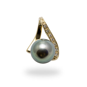 Tahitian Black Pearl Pendant with Diamonds in 14K Yellow Gold (10-11mm)