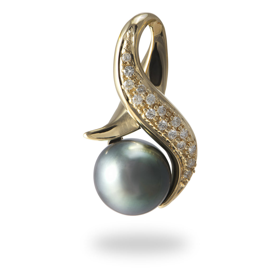 Tahitian Black Pearl Pendant with Diamonds in 14K Yellow Gold (10-12mm)