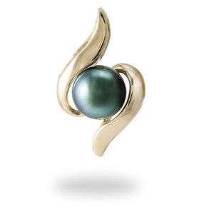 Tahitian Black Pearl Pendant in 14K Yellow Gold - 8mm