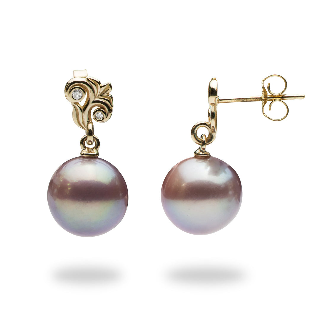 Hawaiian Heirloom Freshwater Pearl Earrings with Diamonds in 14K Yellow Gold  (10-11mm)