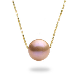 Lavender Freshwater Sunset Pearl Necklace in 14K Yellow Gold (9-10mm)