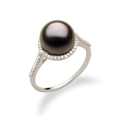 Tahitian Black Pearl Ring with Diamond in 14K White Gold (9-10mm)