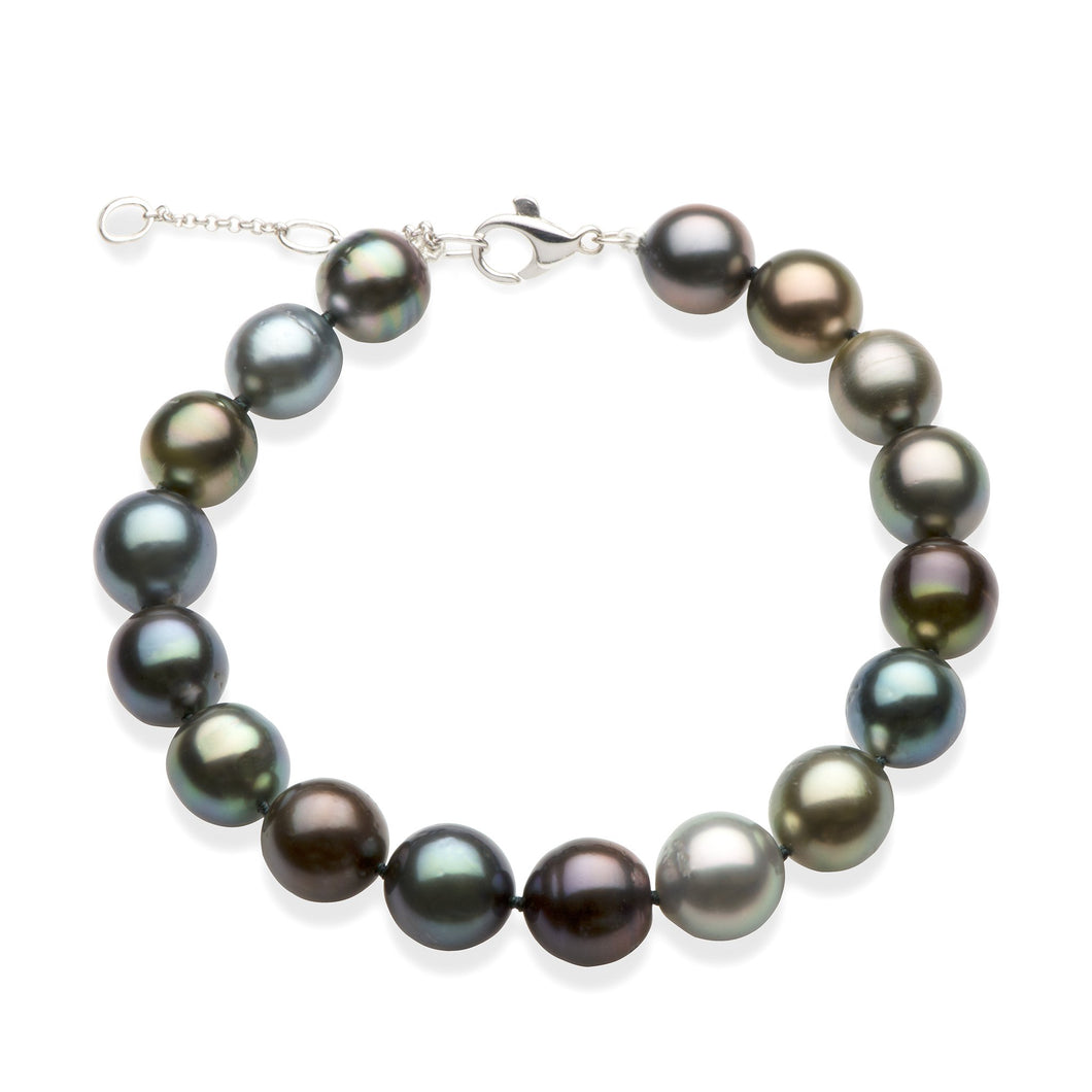 Adjustable Tahitian Black Pearls Bracelet in 14K White Gold (8-10mm)