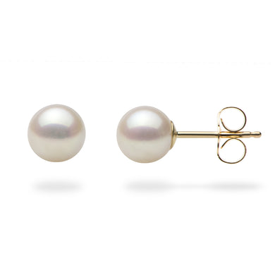 Akoya Pearl Earrings in 14K Yellow Gold (6-6.5mm)