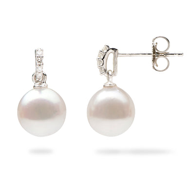 Akoya White Pearl Earrings with Diamonds in 14K White Gold (8mm)