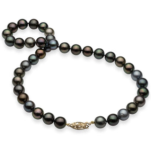 Tahitian Black Pearl Strand in 14K Yellow Gold (10-11mm)
