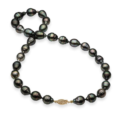 Tahitian Black Pearl Strand in 14K Yellow Gold (7-13mm)