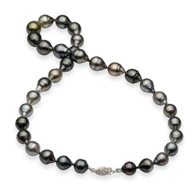 Tahitian Black Pearl Strand in 14K White Gold (7-13mm)