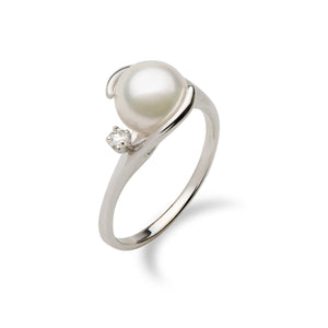 Akoya Pearl Ring with Diamond in 14K White Gold (8mm)