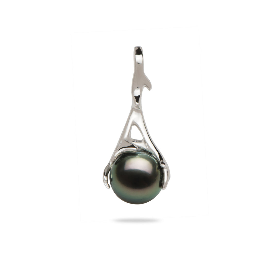 Hawaiian Heritage Tahitian Pearl Pendant in 14K White Gold  (9-10mm)