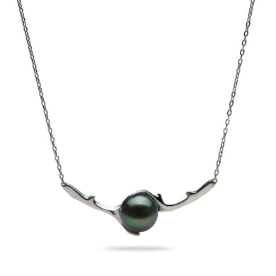 Hawaiian Heritage Tahitian Pearl Necklace in 14K White Gold (9-10mm)