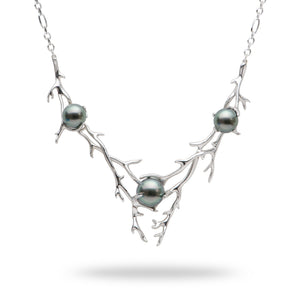 Hawaiian Heritage Tahitian Pearl Necklace in 14K White Gold (8-10mm)