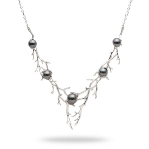 Hawaiian Heritage Tahitian Pearl Necklace in 14K White Gold (8-11mm)