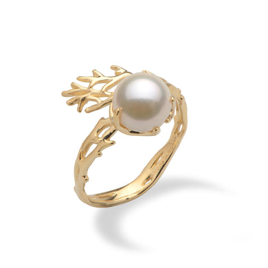 Hawaiian Heritage Akoya Pearl Ring in 14K Yellow Gold  (8mm)