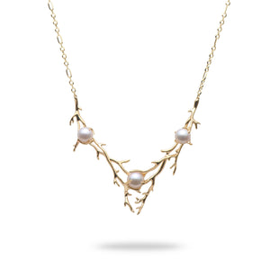 Hawaiian Heritage Akoya Pearl Necklace in 14K Yellow Gold (8-9.9mm)