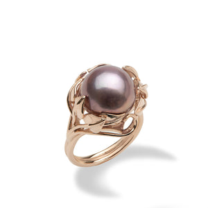 Ultra Violet Pearl Maile Ring in 14K Rose Gold 12-13mm